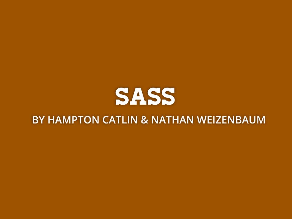 SASS BY HAMPTON CATLIN & NATHAN WEIZENBAUM