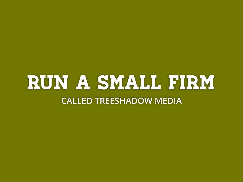 Run a small firm CALLED TREESHADOW MEDIA