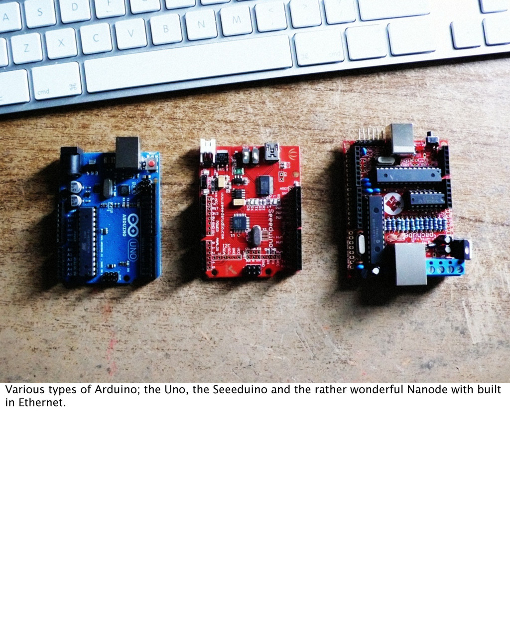 Various types of Arduino; the Uno, the Seeeduin...