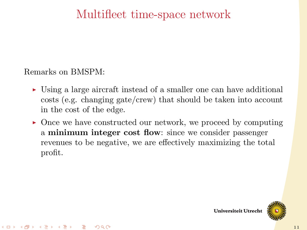 11 Multifleet time-space network Remarks on BMSP...
