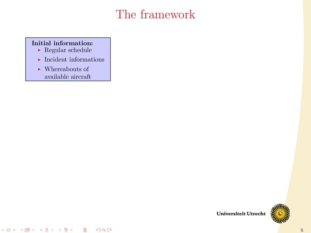 5 The framework Initial information: Regular sc...