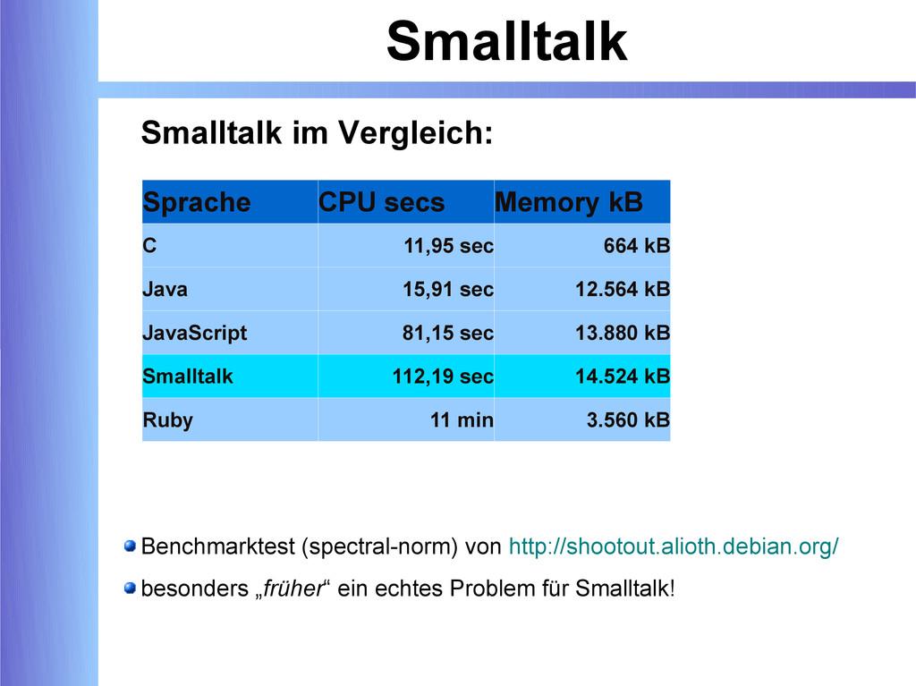 Smalltalk Smalltalk im Vergleich: Benchmarktest...