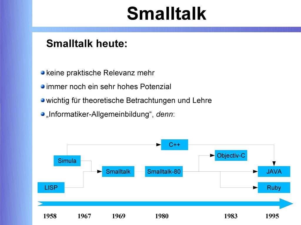 Smalltalk Smalltalk heute: keine praktische Rel...