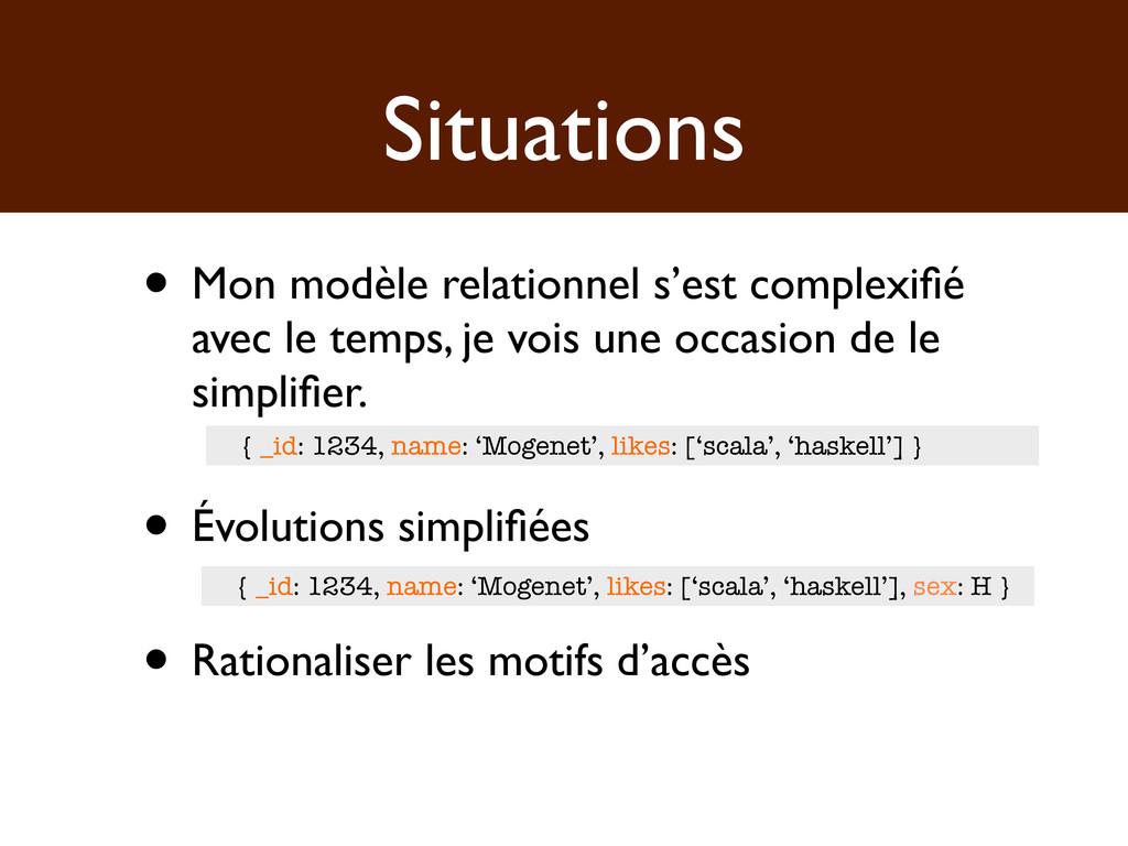 Situations • Mon modèle relationnel s'est compl...