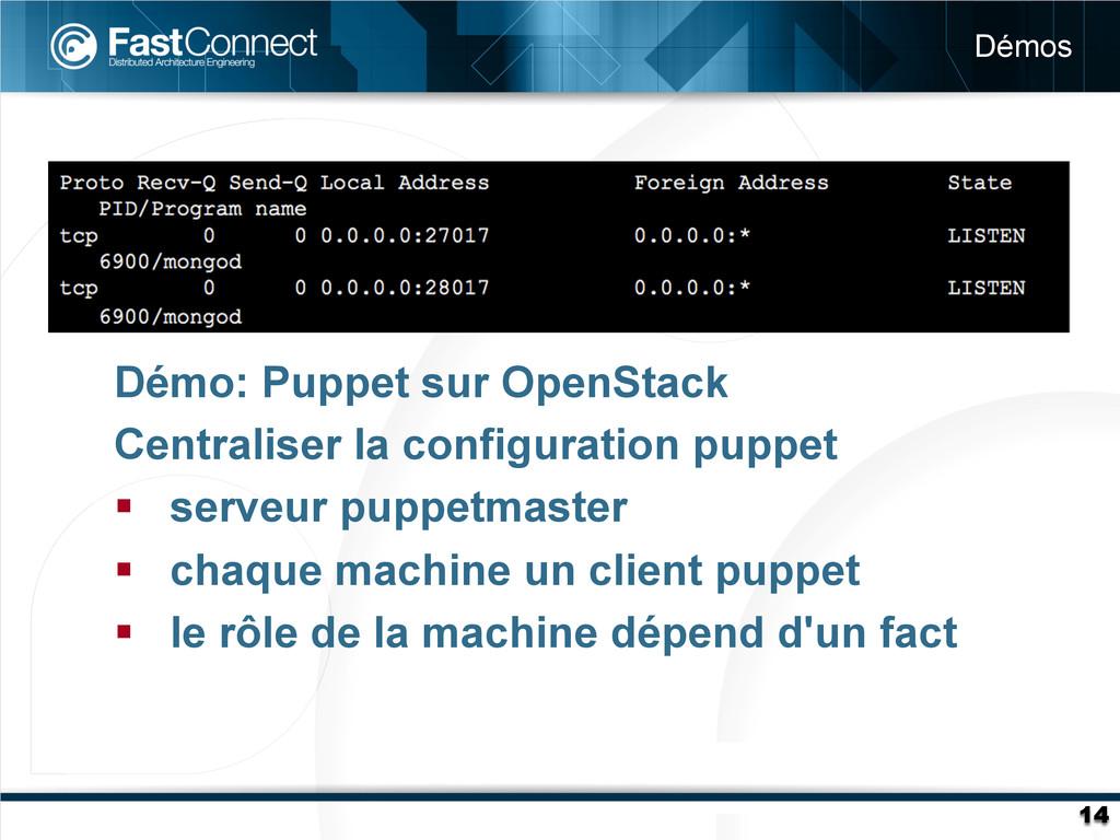 Démos 14 Démo: Puppet sur OpenStack Centraliser...
