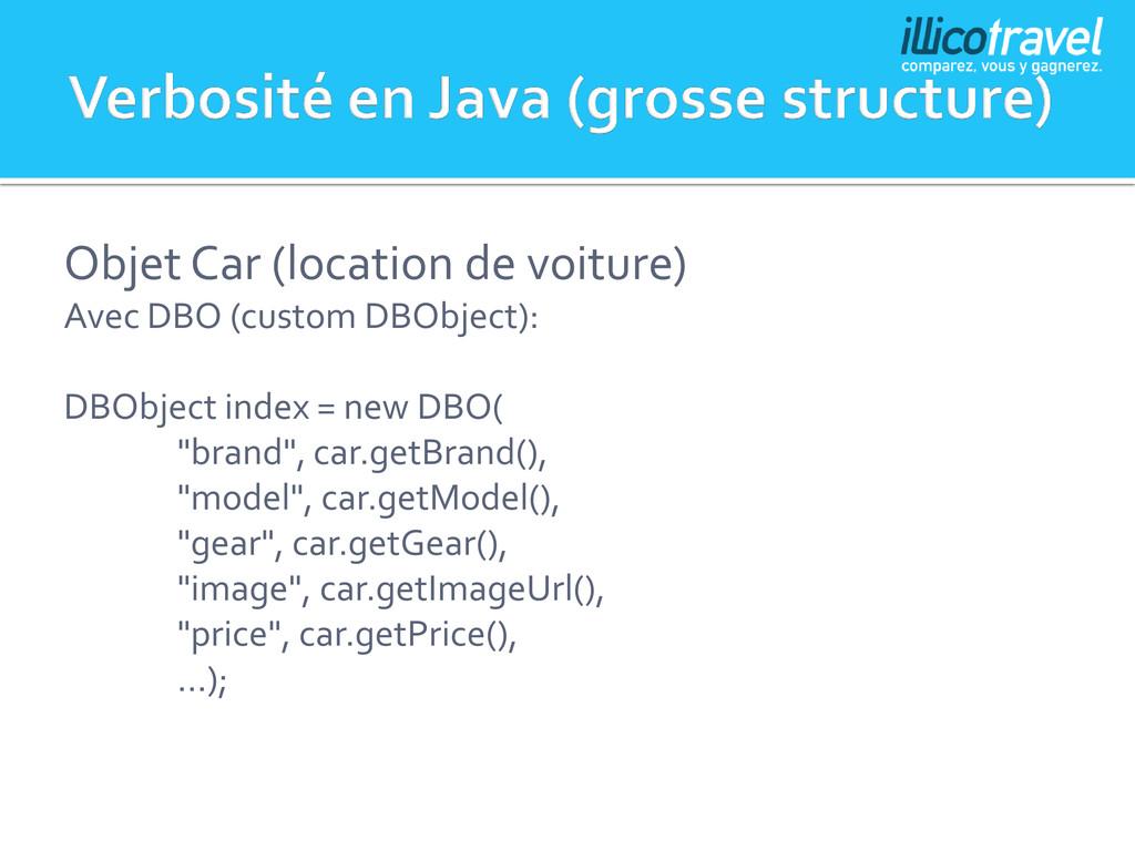 Objet Car (location de voiture) Avec DBO (custo...