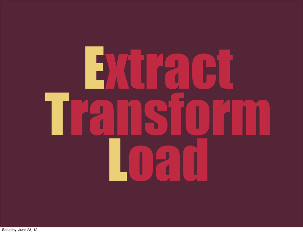 Extract Transform Load Saturday, June 23, 12