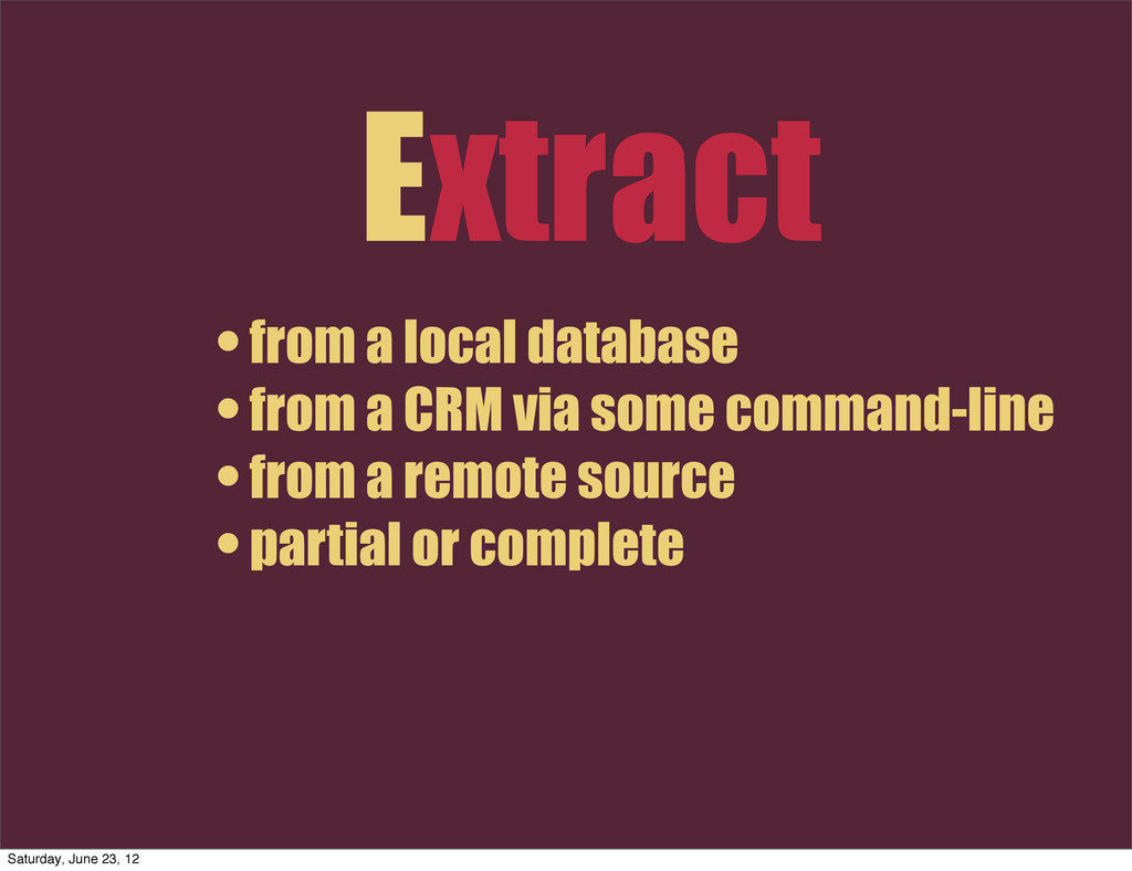 Extract • from a local database • from a CRM vi...