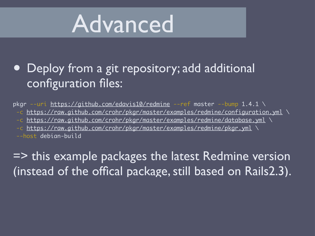 Advanced • Deploy from a git repository; add ad...