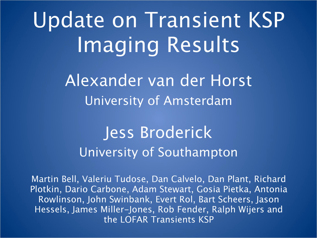 Update on Transient KSP Imaging Results Alexand...