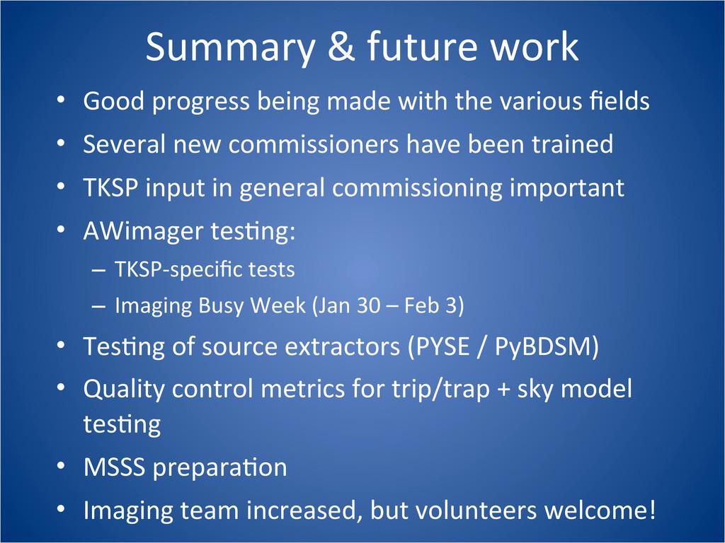 Summary & future work • Good progre...