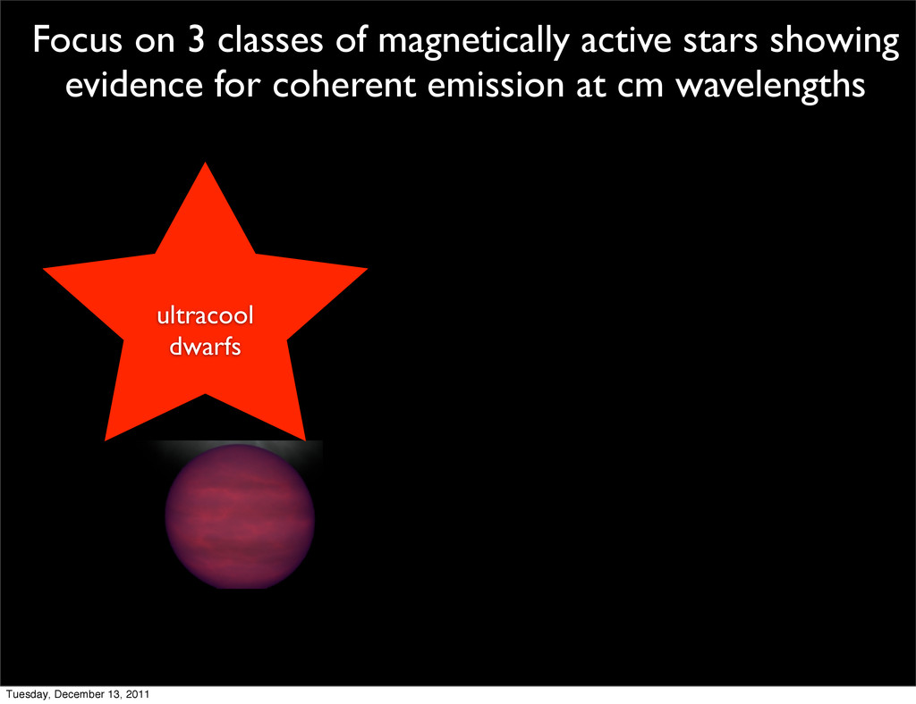 ultracool dwarfs Focus on 3 classes of magnetic...