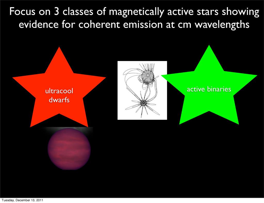 ultracool dwarfs active binaries Focus on 3 cla...