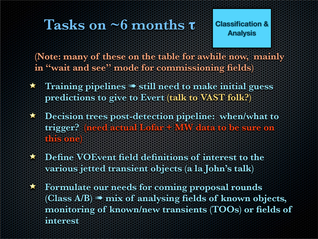 Tasks on ~6 months τ (Note: many of these on th...