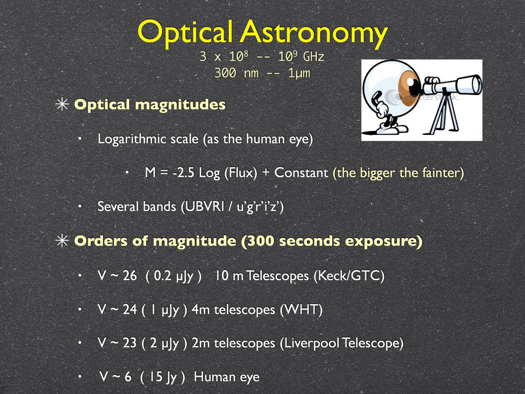 Optical Astronomy Optical magnitudes • Logarith...