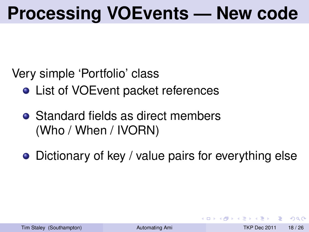 Processing VOEvents — New code Very simple 'Por...