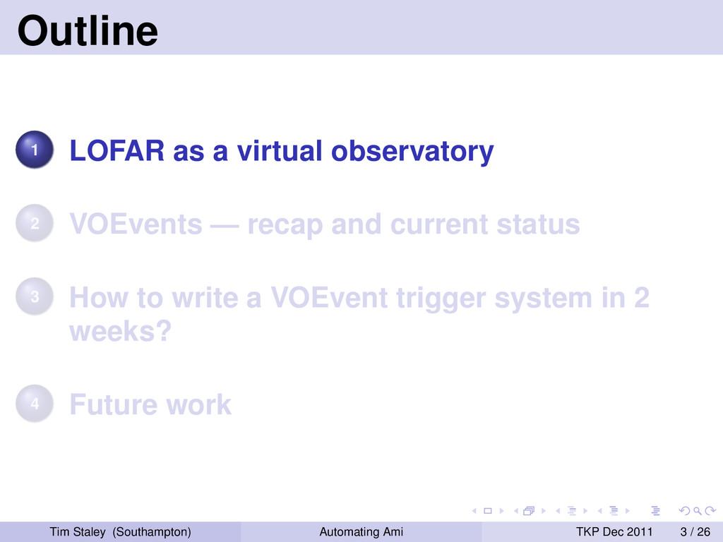 Outline 1 LOFAR as a virtual observatory 2 VOEv...