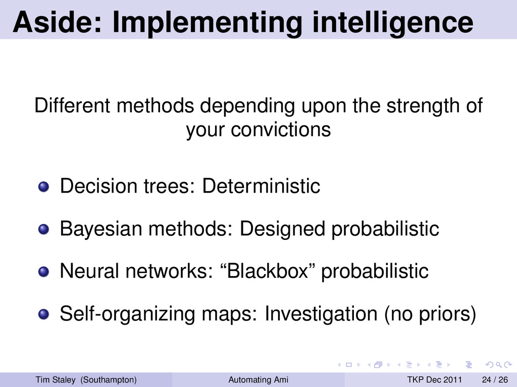 Aside: Implementing intelligence Different meth...