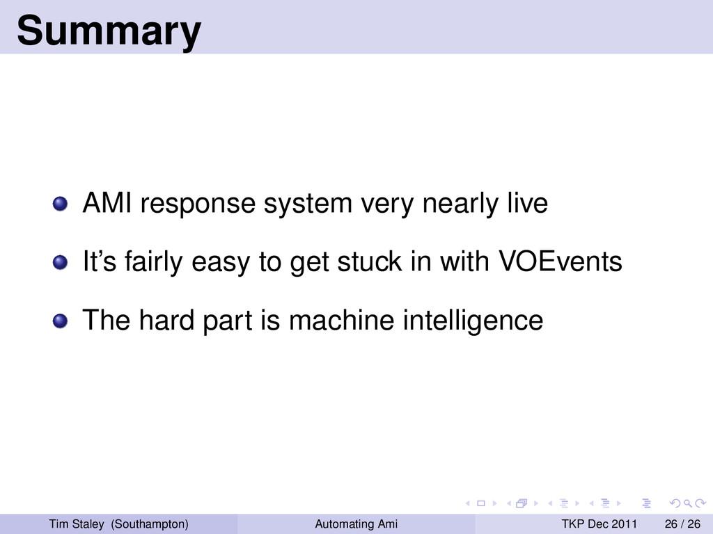 Summary AMI response system very nearly live It...