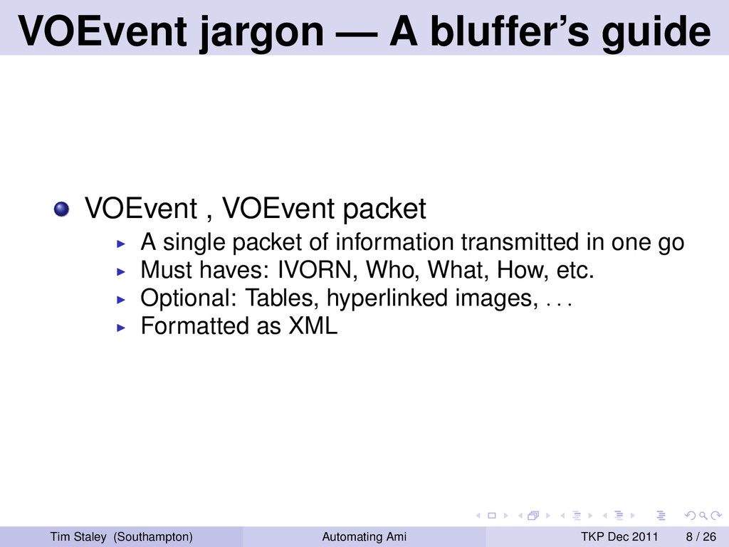 VOEvent jargon — A bluffer's guide VOEvent , VO...