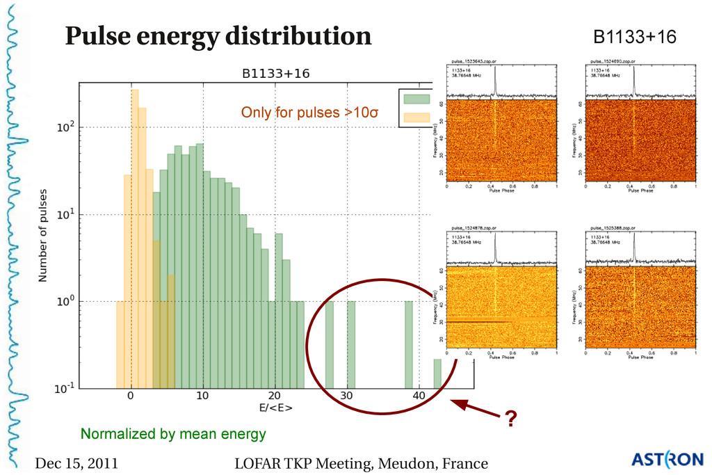 Pulse energy distribution B1133+16 Preliminary ...