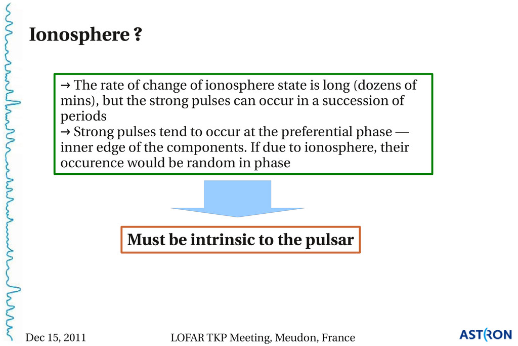 Ionosphere ? Must be intrinsic to the pulsar → ...