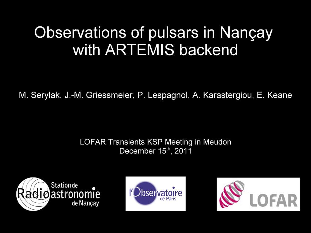 Observations of pulsars in Nan Observations of ...