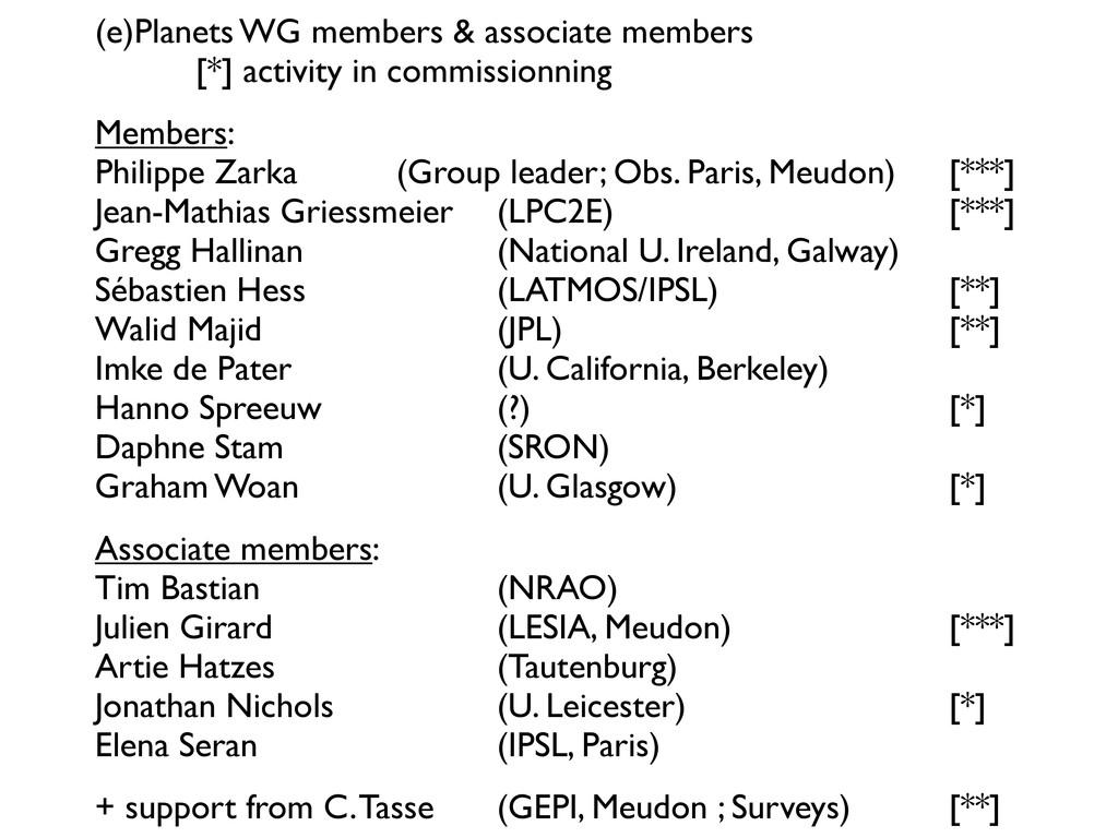 (e)Planets WG members & associate members   ...