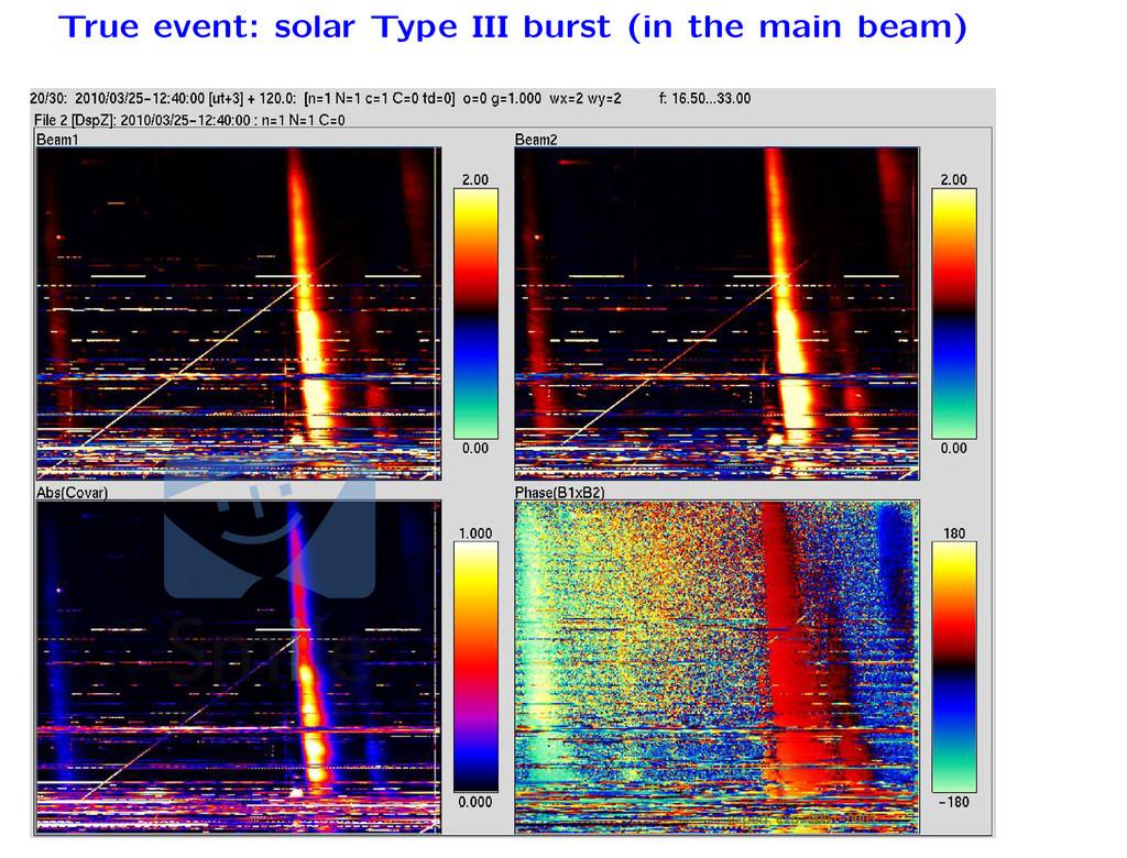 True event: solar Type III burst (in the main b...