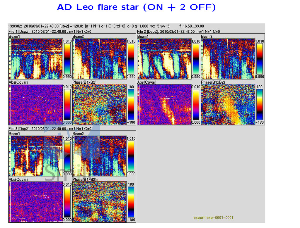 AD Leo flare star (ON + 2 OFF)