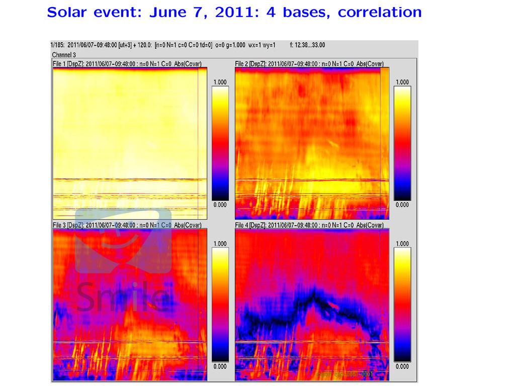Solar event: June 7, 2011: 4 bases, correlation...
