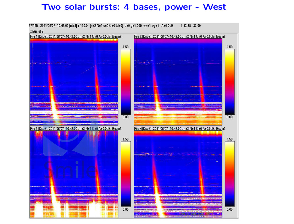 Two solar bursts: 4 bases, power - West ments