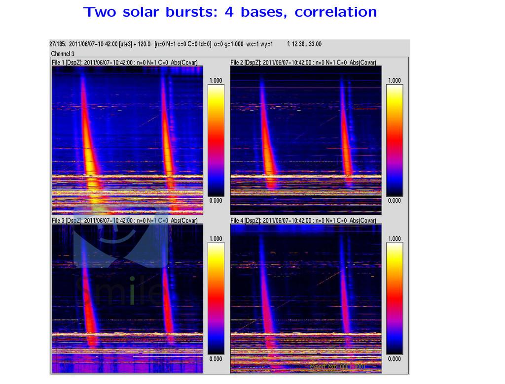 Two solar bursts: 4 bases, correlation ments
