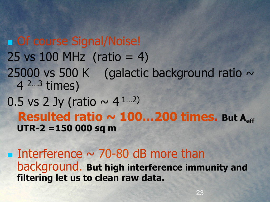 23  Of course Signal/Noise! 25 vs 100 MHz (ra...