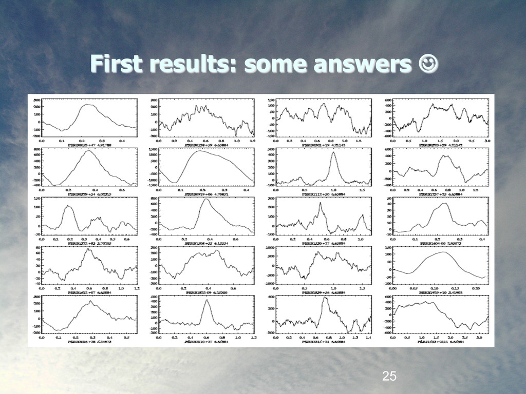 25 First results: some answers #