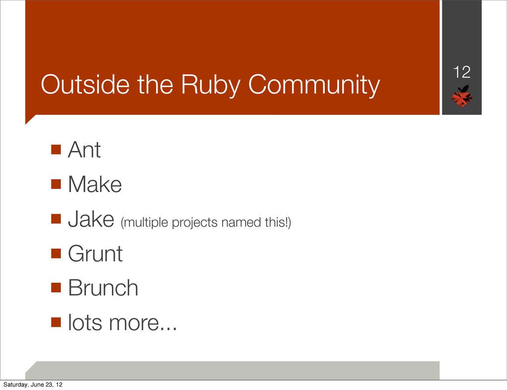 Outside the Ruby Community ■ Ant ■ Make ■ Jake ...