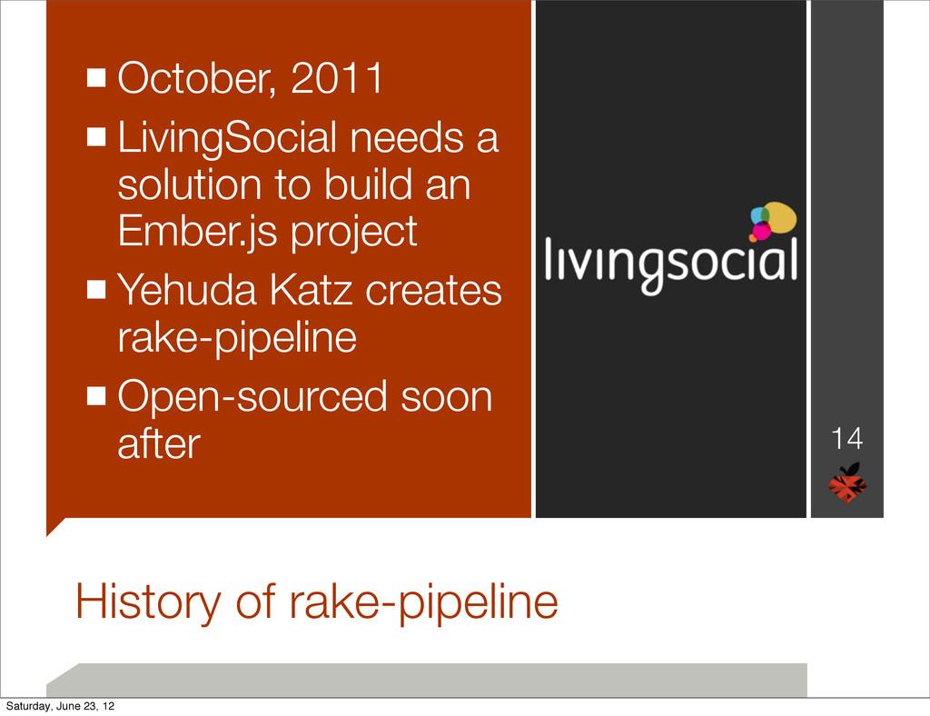 History of rake-pipeline ■October, 2011 ■Living...