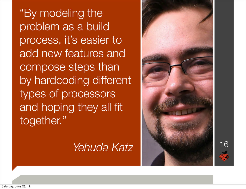 """By modeling the problem as a build process, it..."