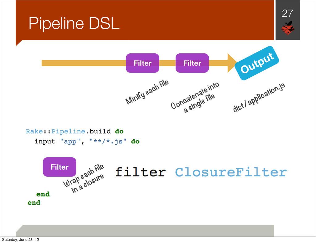 27 Pipeline DSL Output Filter Filter Filter Wra...