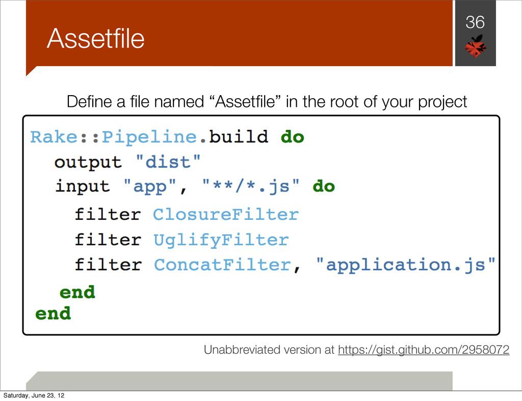 "36 Assetfile Define a file named ""Assetfile"" in the..."