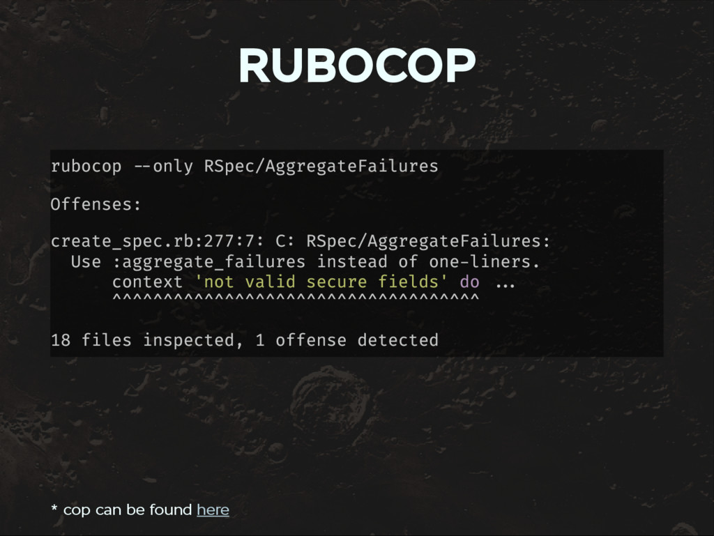 RUBOCOP rubocop only RSpec/AggregateFailures Of...