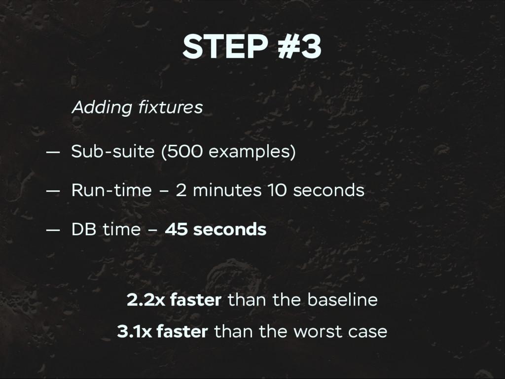 STEP #3 Adding fixtures — Sub-suite (500 example...