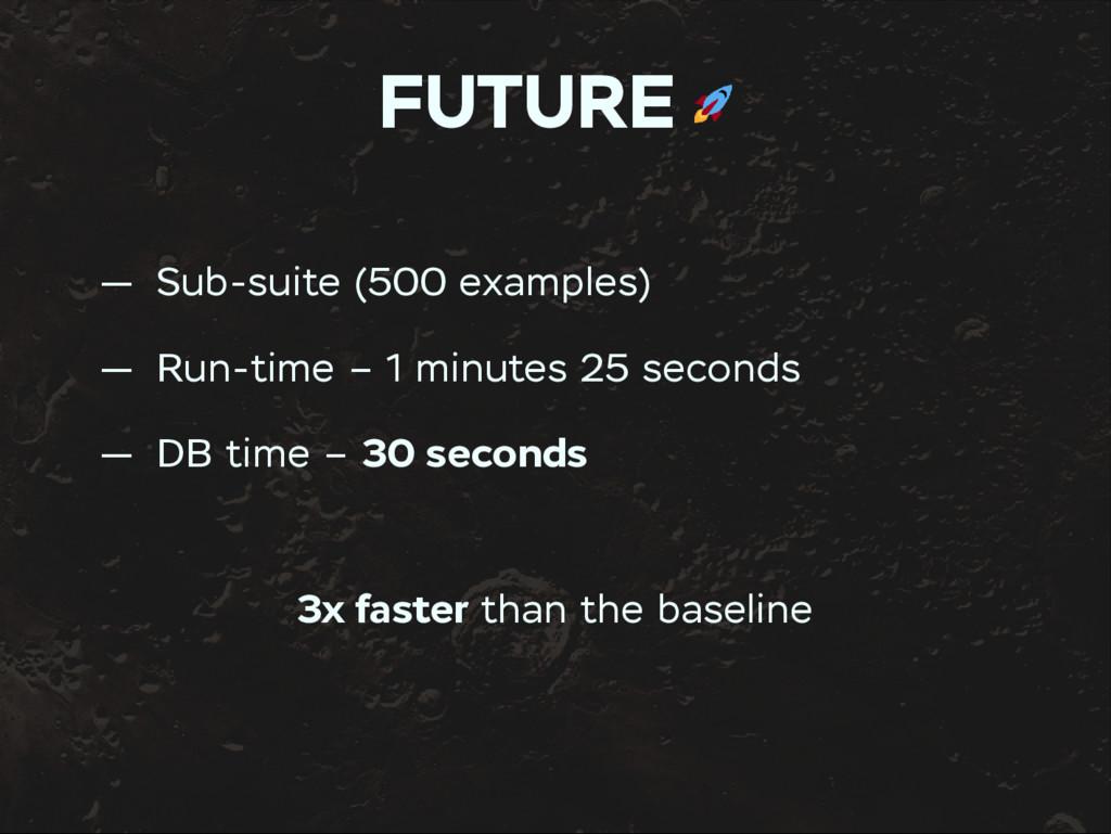 FUTURE — Sub-suite (500 examples) — Run-time – ...