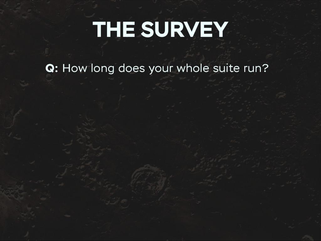 THE SURVEY Q: How long does your whole suite ru...