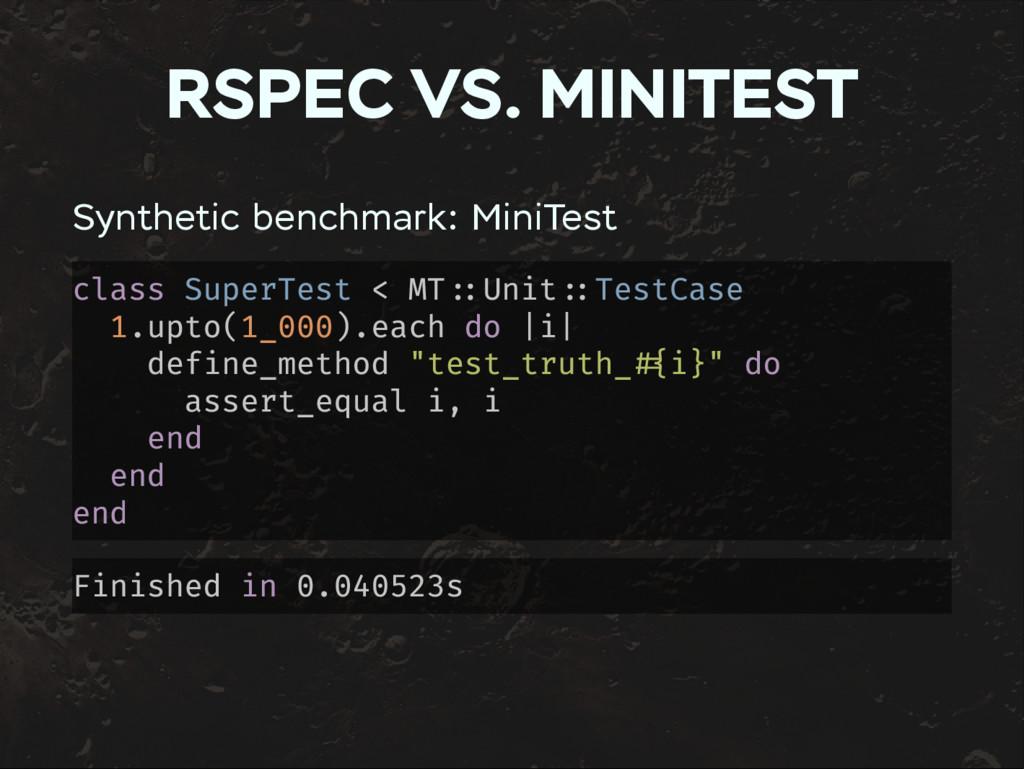 RSPEC VS. MINITEST Synthetic benchmark: MiniTes...