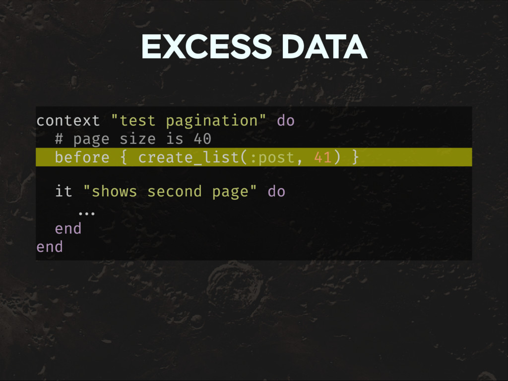 "EXCESS DATA context ""test pagination"" do # page..."