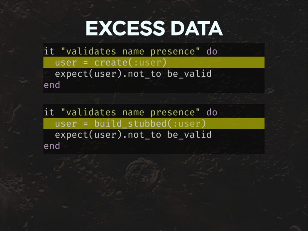 "EXCESS DATA it ""validates name presence"" do use..."