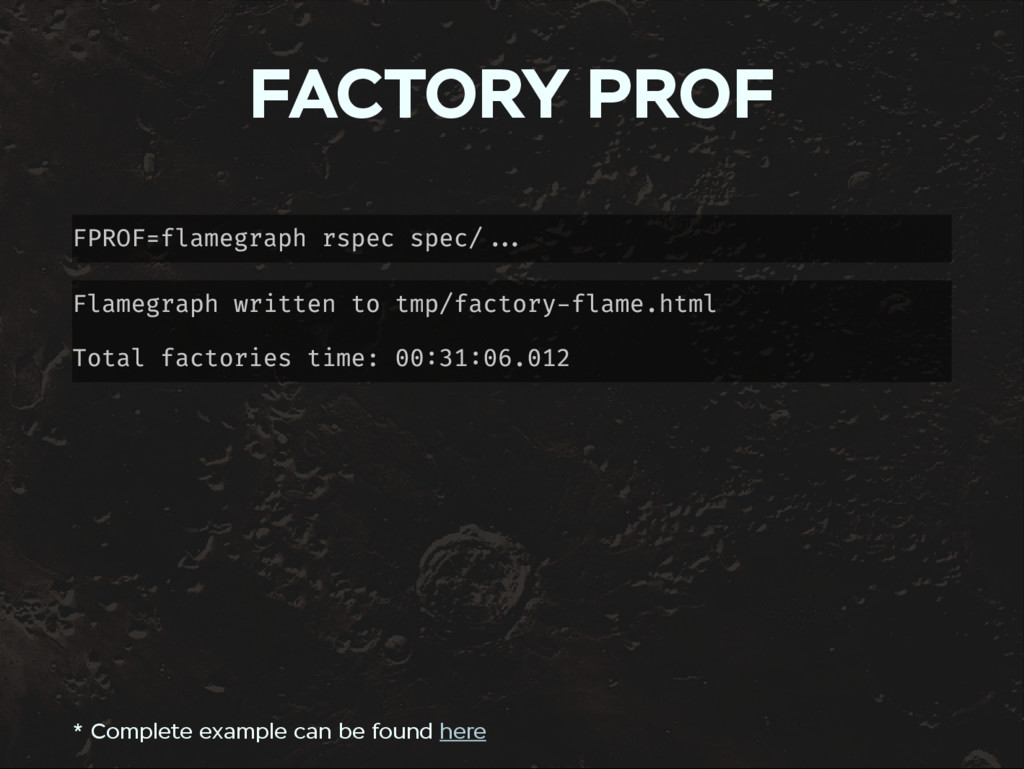FACTORY PROF FPROF=flamegraph rspec spec/ Flame...
