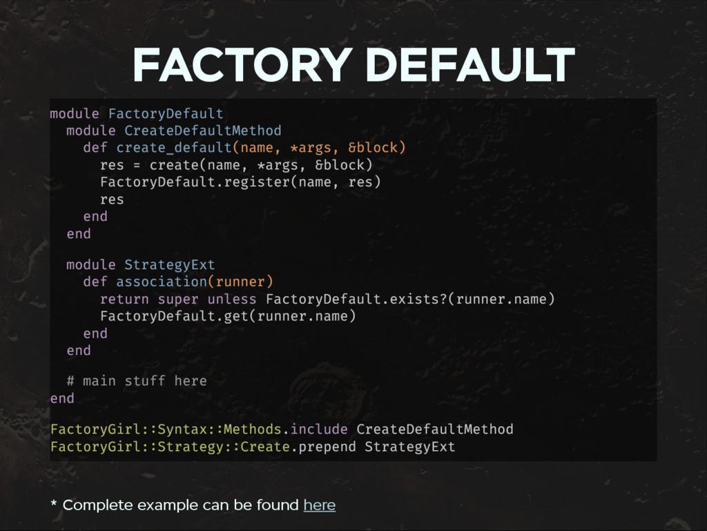FACTORY DEFAULT module FactoryDefault module Cr...
