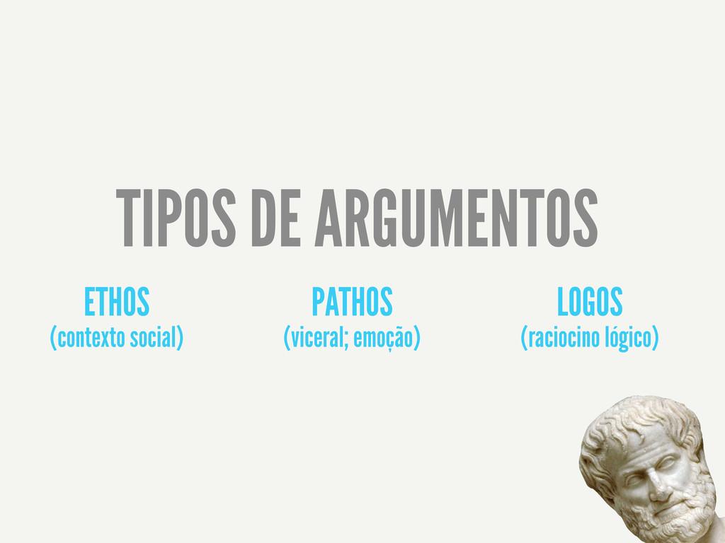 ETHOS (contexto social) PATHOS (viceral; emoção...